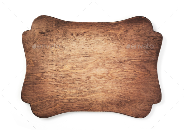 wooden sign board isolated on white - Stock Photo - Images