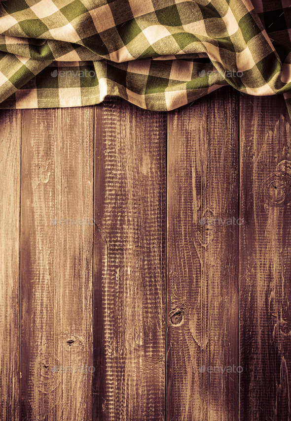 cloth napkin on wood - Stock Photo - Images