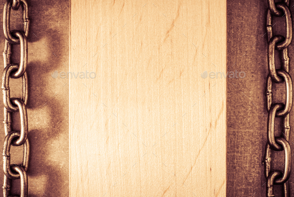 metal chain and wood - Stock Photo - Images
