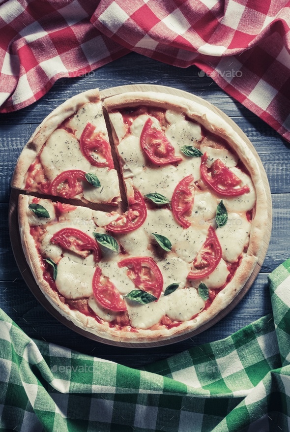 italian pizza at wood - Stock Photo - Images