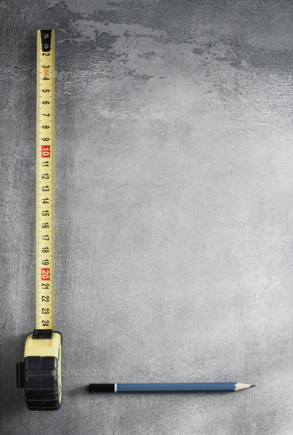 tape measure and pencil - Stock Photo - Images
