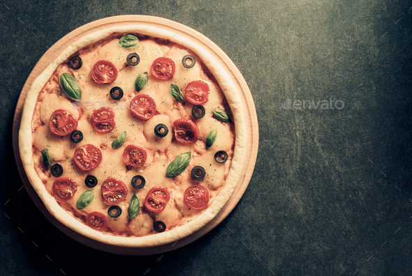 italian pizza at black background - Stock Photo - Images