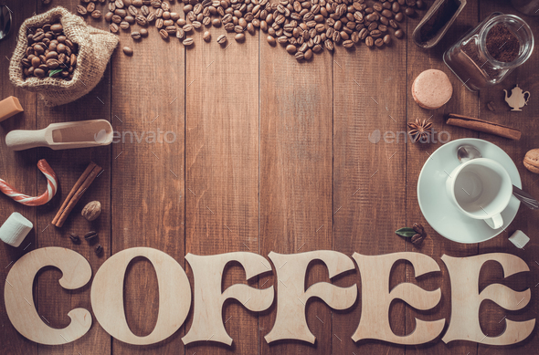 cup of coffee and letters on wood - Stock Photo - Images