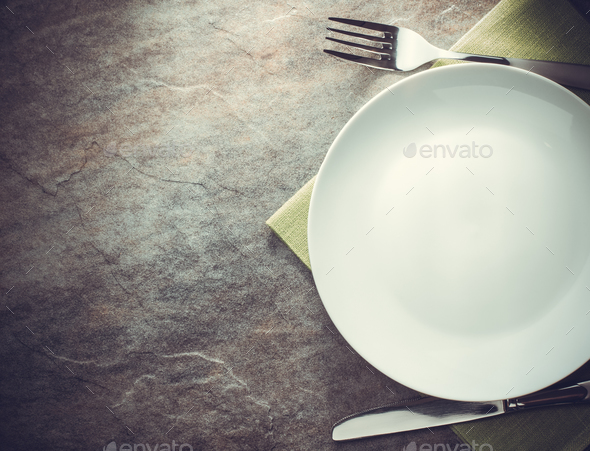 plate, knife and fork - Stock Photo - Images