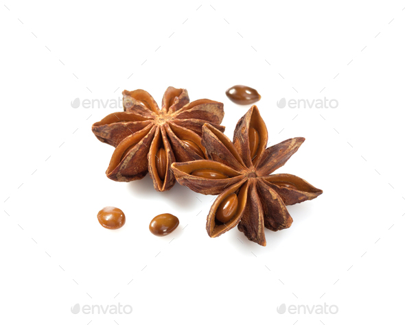 anise star on white background - Stock Photo - Images