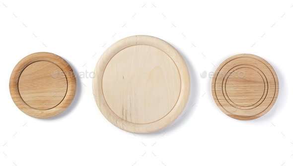 wooden plate isolated on white - Stock Photo - Images