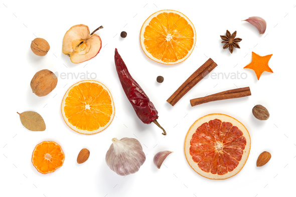 dried fruit and spices on white background - Stock Photo - Images