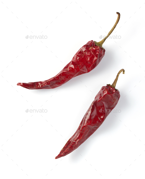 dried pepper chili isolated on white - Stock Photo - Images