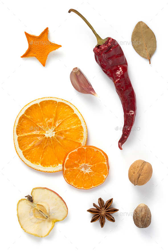 dried fruit and spices isolated on white - Stock Photo - Images