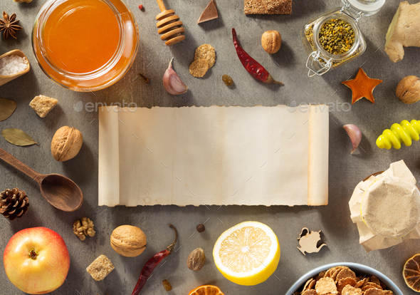 healthy food on stone table - Stock Photo - Images