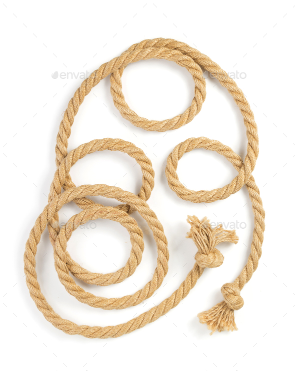 ship rope on white background - Stock Photo - Images