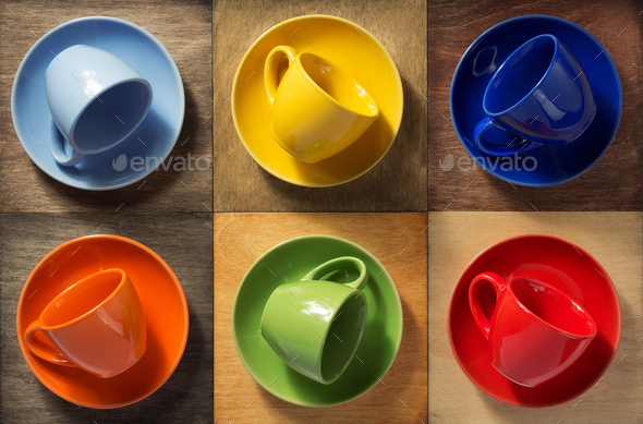 empty cup and saucer at wood - Stock Photo - Images