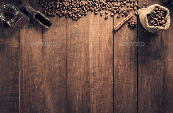 cup of coffee and ingredients on wood - Stock Photo - Images