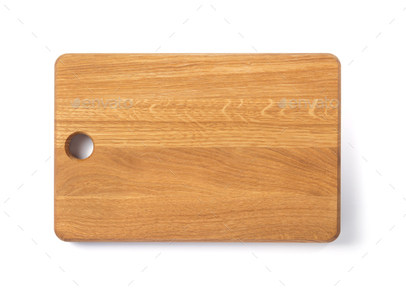 wooden cutting board isolated on white - Stock Photo - Images