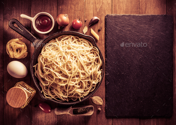 ready pasta  on wood - Stock Photo - Images
