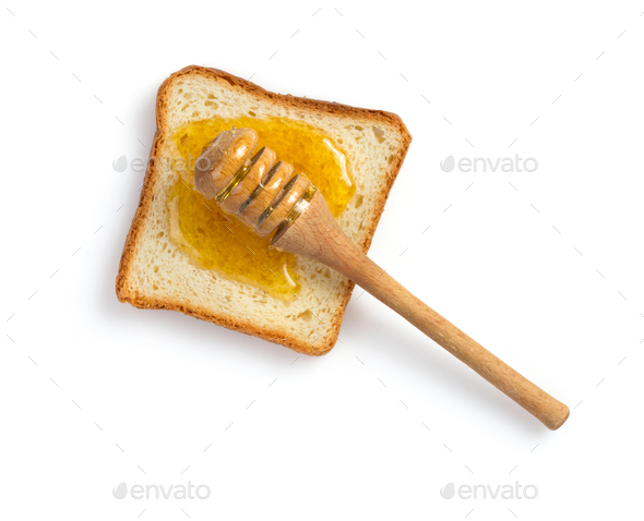 honey and bread on white - Stock Photo - Images