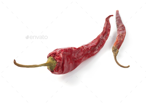 dried pepper chili on white background - Stock Photo - Images