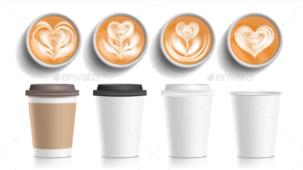 Coffee Cups Art Top View Vector - Food Objects