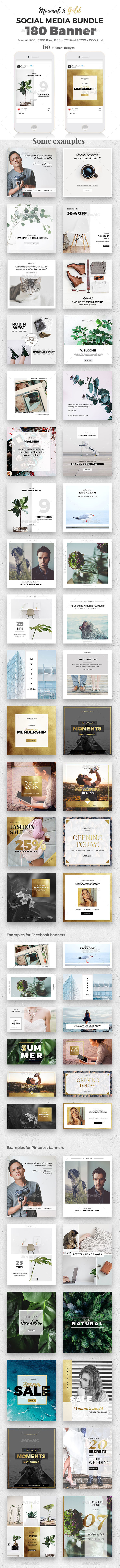 Minimal & Gold Social Media Bundle - Social Media Web Elements