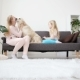 Life of Domestic Pets in the Family. Mom and Daughter Stroked and Hug a Golden Retriever on the - VideoHive Item for Sale