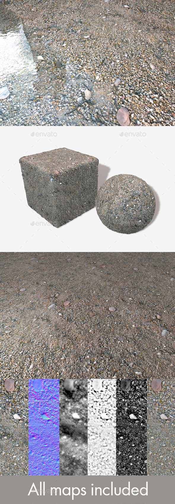 Rough Gravel Seamless Texture - 3DOcean Item for Sale