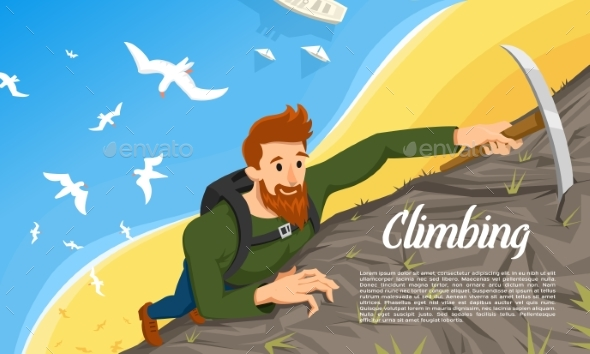Young Bearded Hipster Climber with Ice Axe - Sports/Activity Conceptual