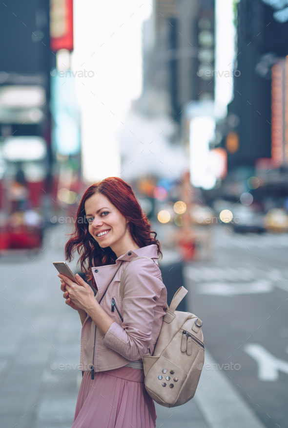 Happy traveling woman - Stock Photo - Images