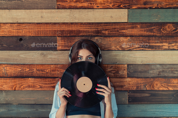 Woman with headphones - Stock Photo - Images