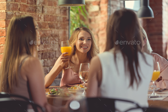 Happy friends indoors - Stock Photo - Images