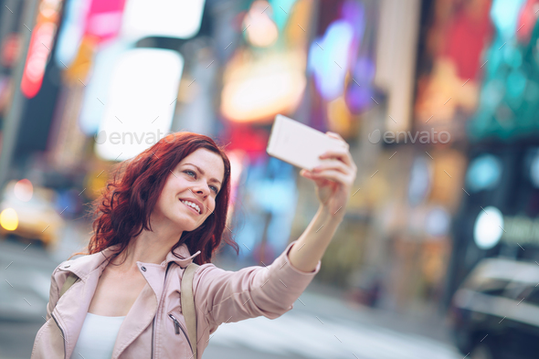 Happy young tourist - Stock Photo - Images