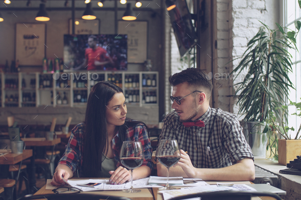 Hipsters in cafe - Stock Photo - Images