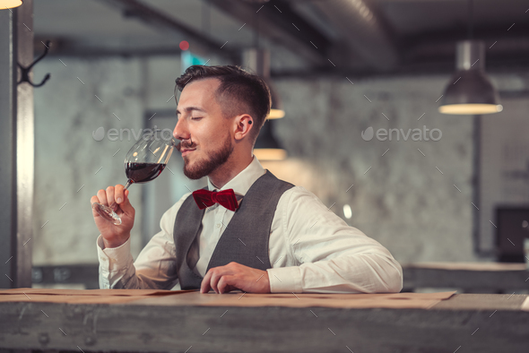 Man tasting wine - Stock Photo - Images