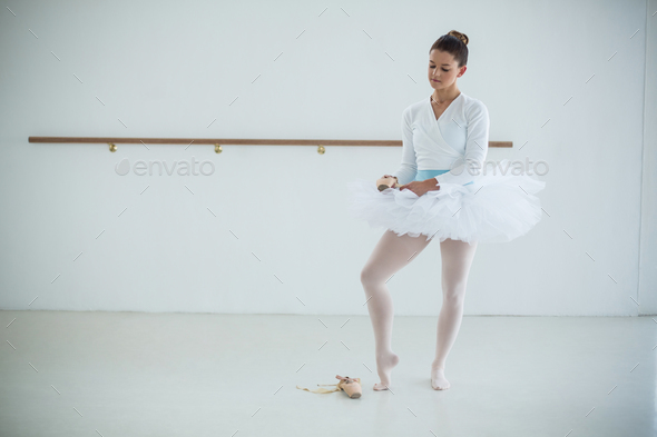 Ballerina wearing ballet shoes - Stock Photo - Images