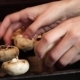 Woman Puts Champignons on Baking Sheet - VideoHive Item for Sale