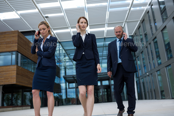 Businesspeople talking on mobile phones - Stock Photo - Images
