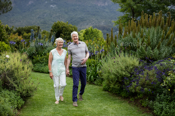 Senior couple walking in lawn - Stock Photo - Images