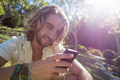 Happy man listening to music on mobile phone - PhotoDune Item for Sale