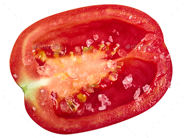 Plum Roma tomato half, salted,paths, top - Stock Photo - Images
