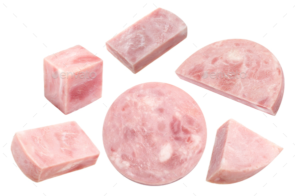 Marbled ham slices, paths - Stock Photo - Images