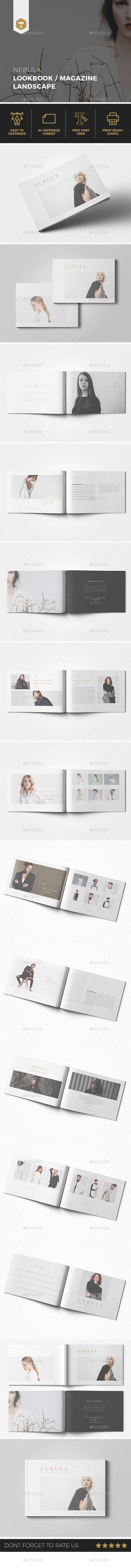 NEBULA Lookbook / Magazine Landscape - Brochures Print Templates