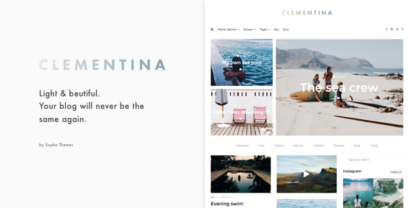 Clementina - Fashion, Travel, Lifestyle Blog Theme - Blog / Magazine WordPress