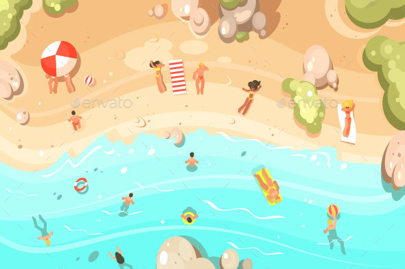 Summer Sandy Beach with Vacationers - Miscellaneous Vectors