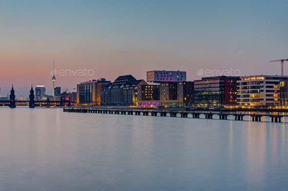 The Spree river in Berlin after sunset - Stock Photo - Images