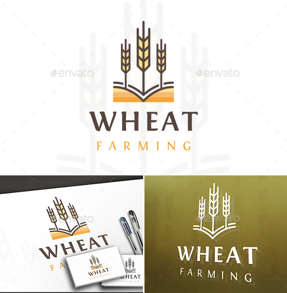 Wheat Color Lines Logo - Nature Logo Templates