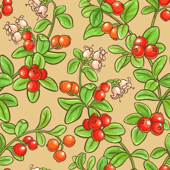 Cranberry Seamless Pattern - Food Objects