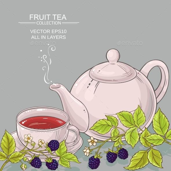 Blackberry Tea Vector Background - Food Objects