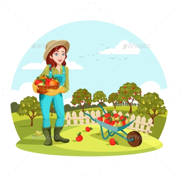 Woman or Female Gardener Holding Apples, Pears - Miscellaneous Vectors