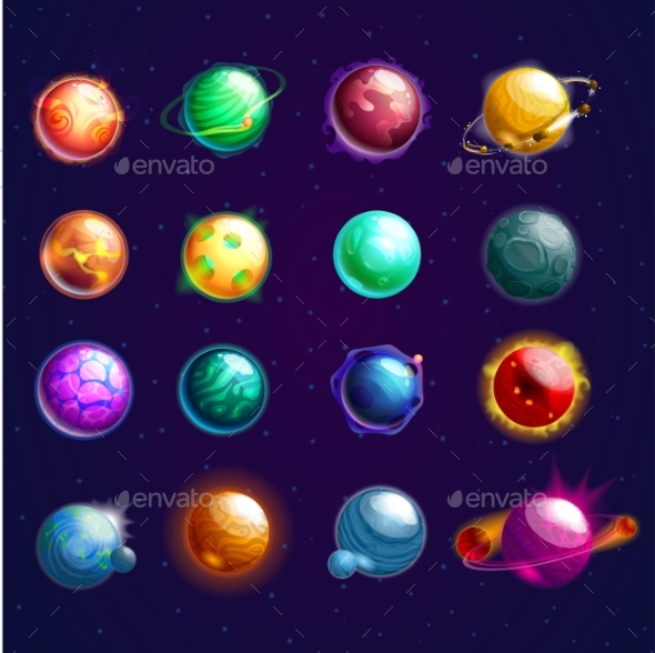 Set of Isolated Cosmos Stars or Planets - Organic Objects Objects