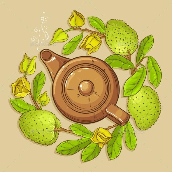 Soursop Tea Vector Illustration - Food Objects