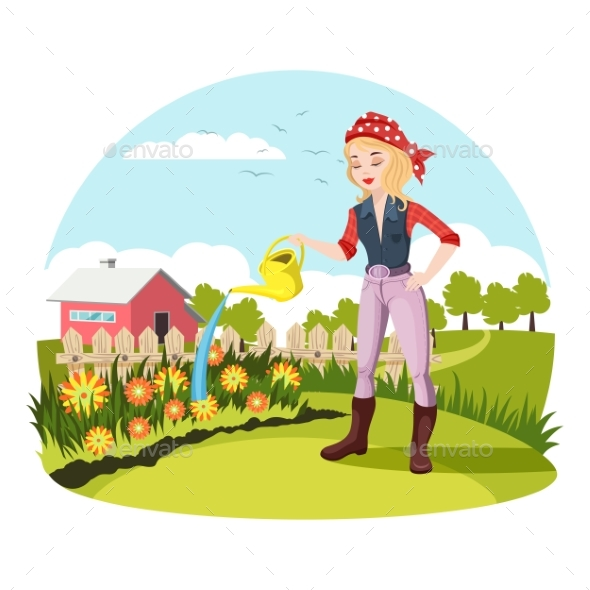 Woman Watering Flowers at Garden or Yard - Miscellaneous Vectors